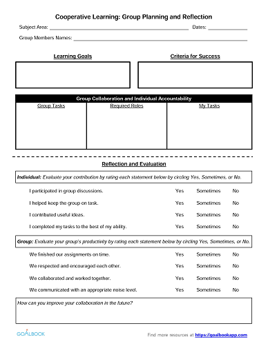 Student Planning and Reflection Form for Cooperative Learning