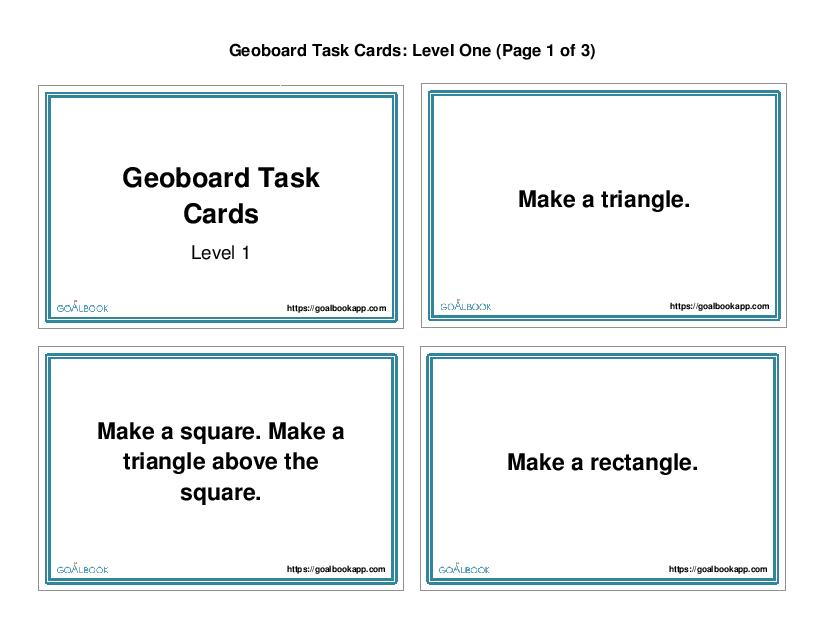 Geoboard Task Cards (Level 1): Simple Shapes