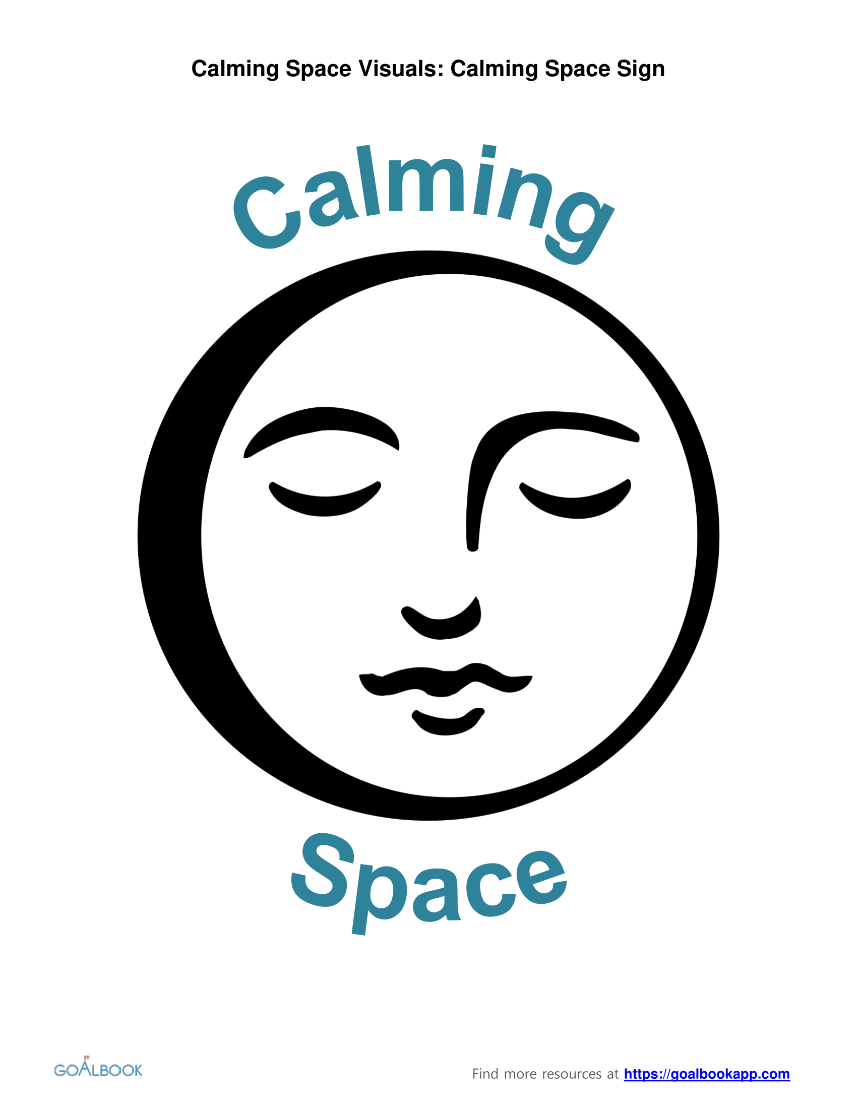Calming Space Sign