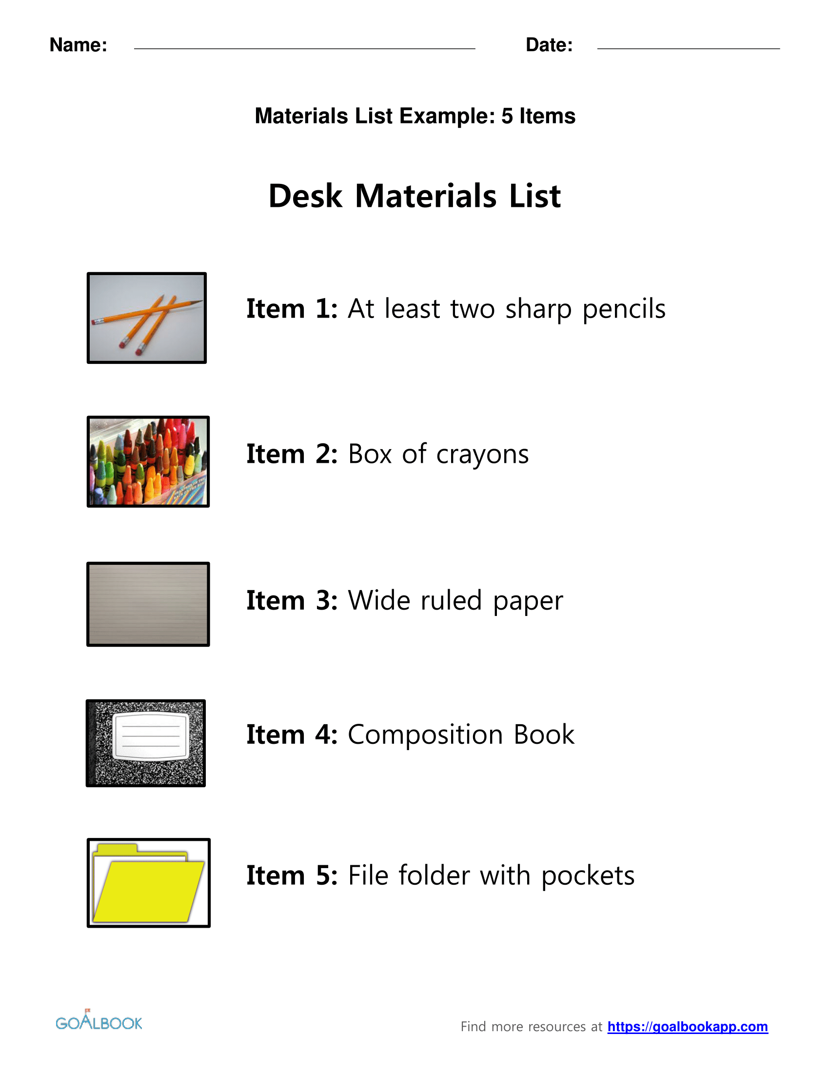 Desk Materials List and Template