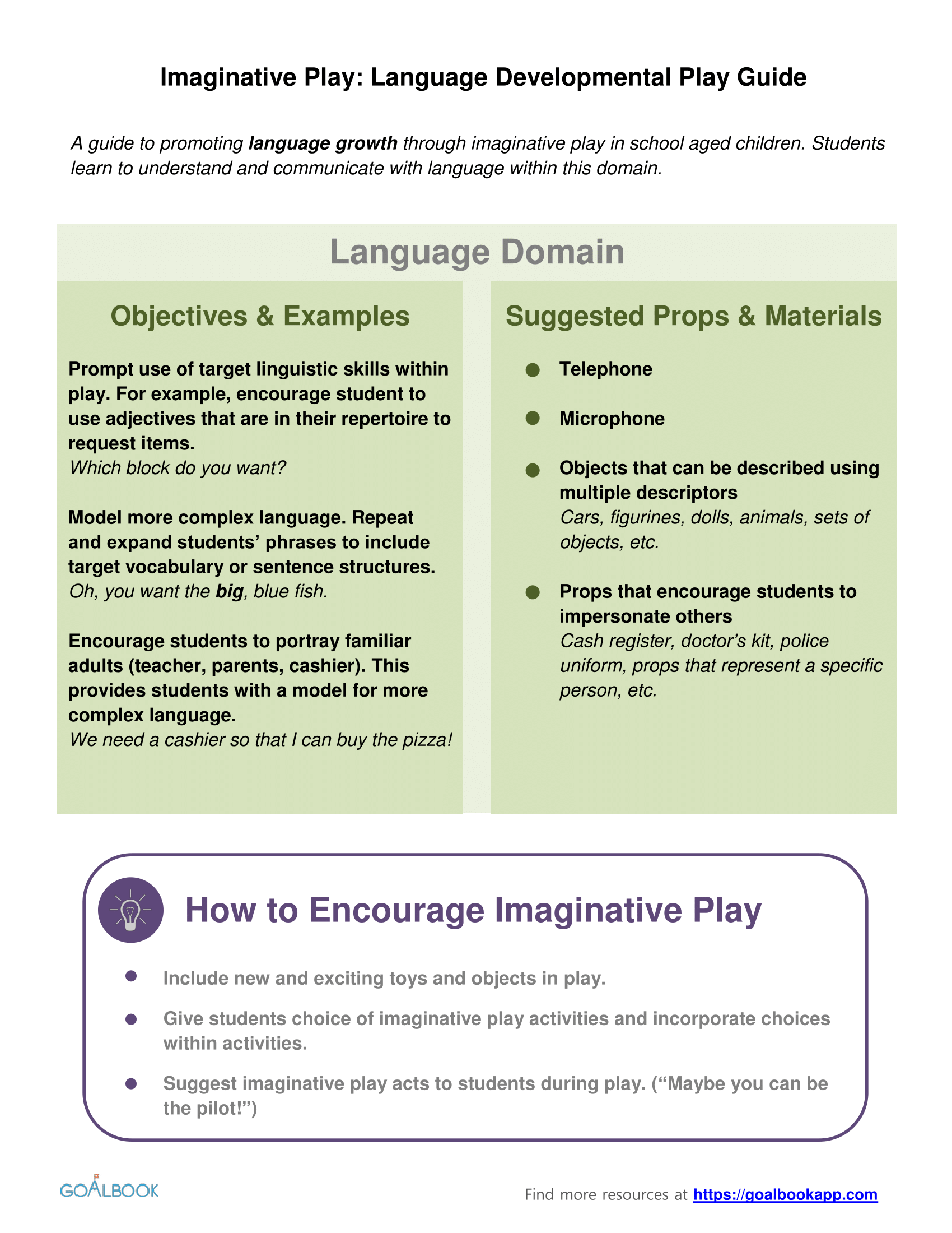 Language Development Imaginative Play Guide