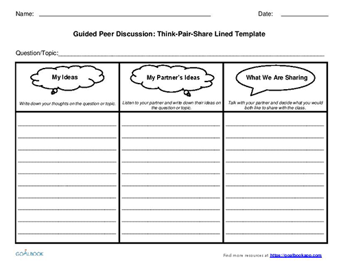 Think-Pair-Share Discussion Templates (Grades 6-12)