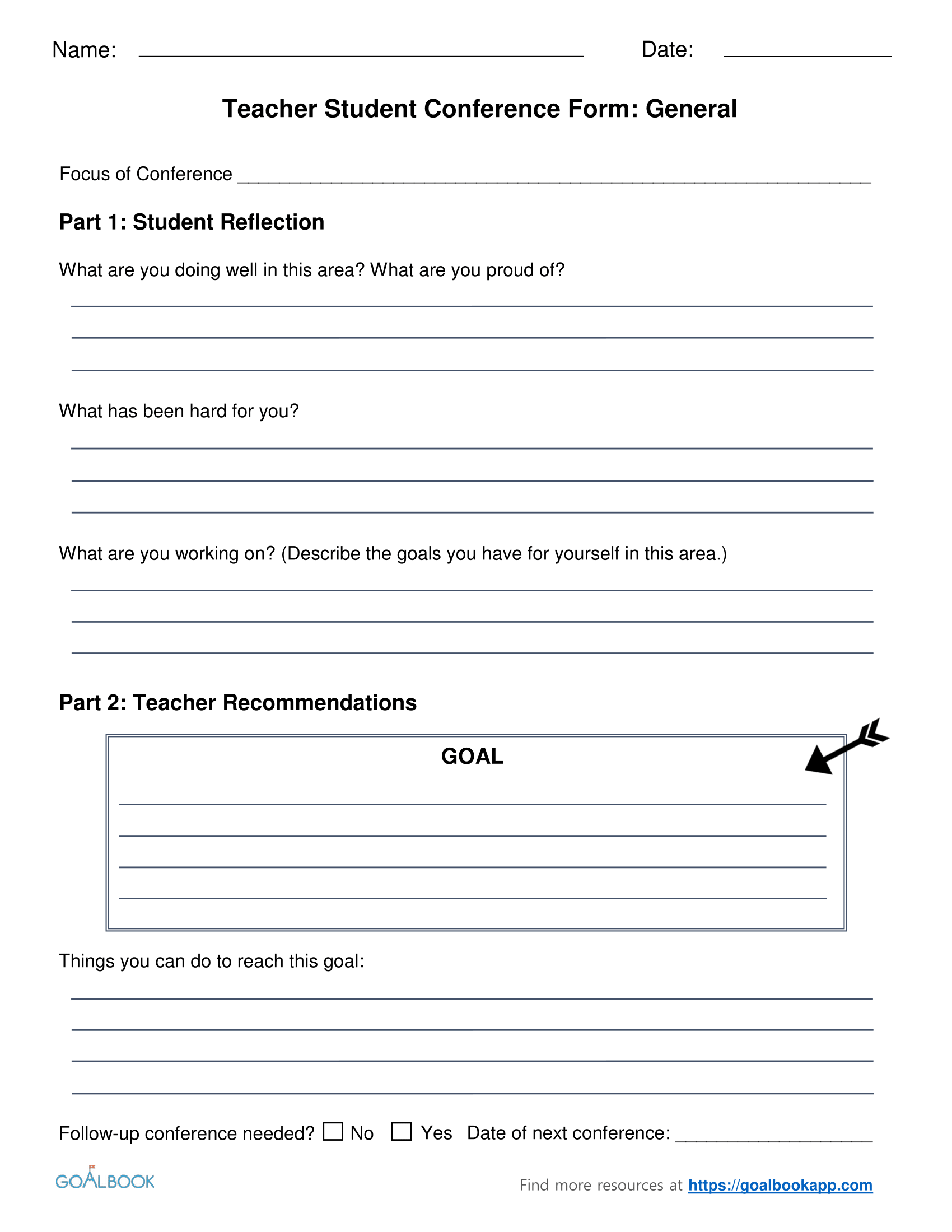 Goal-Setting Student-Teacher Conference Form