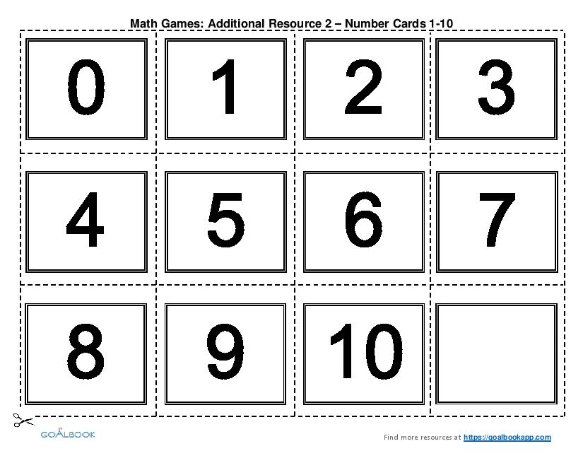 Printable Math Games (Grades K-2)   Goalbook Pathways