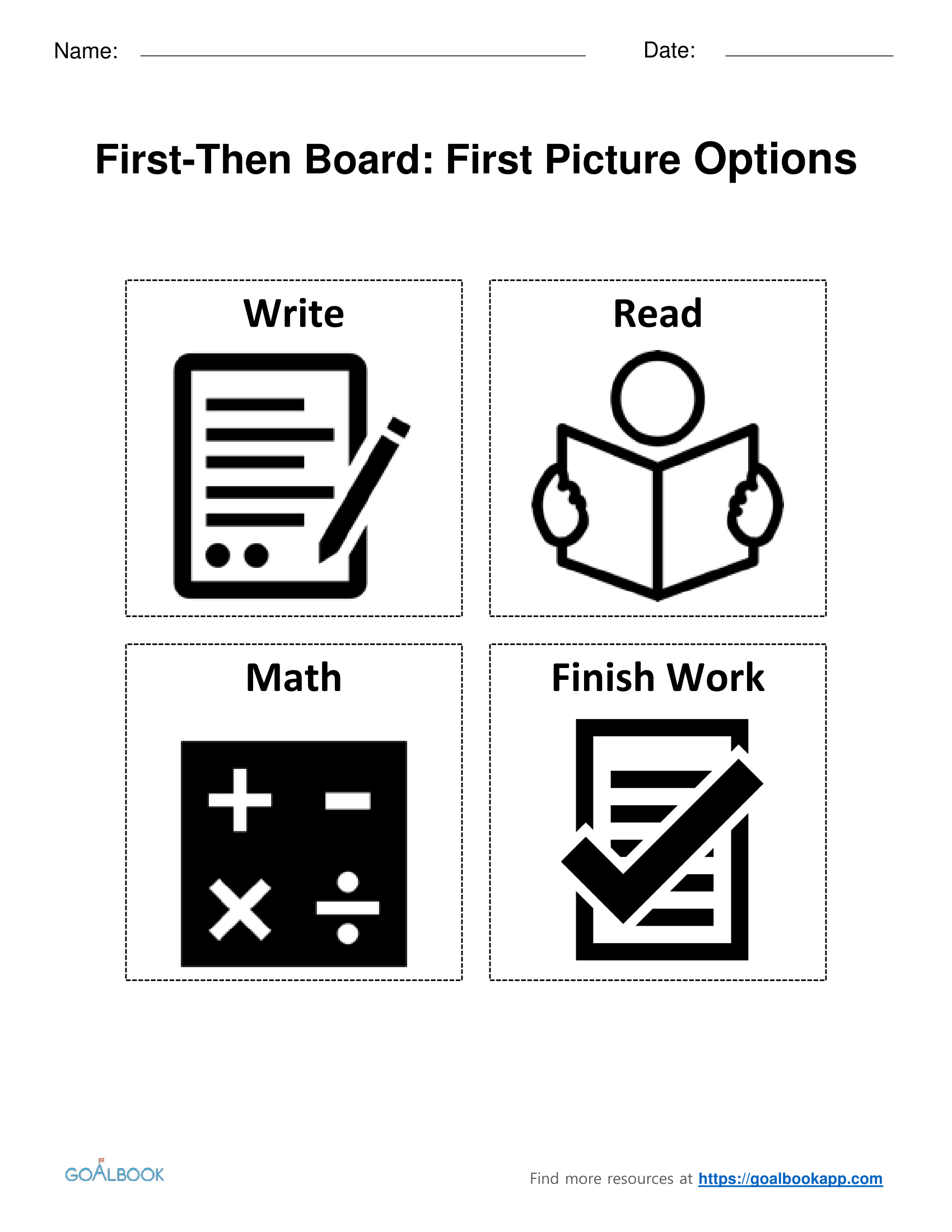 First-Then Board Picture Choices