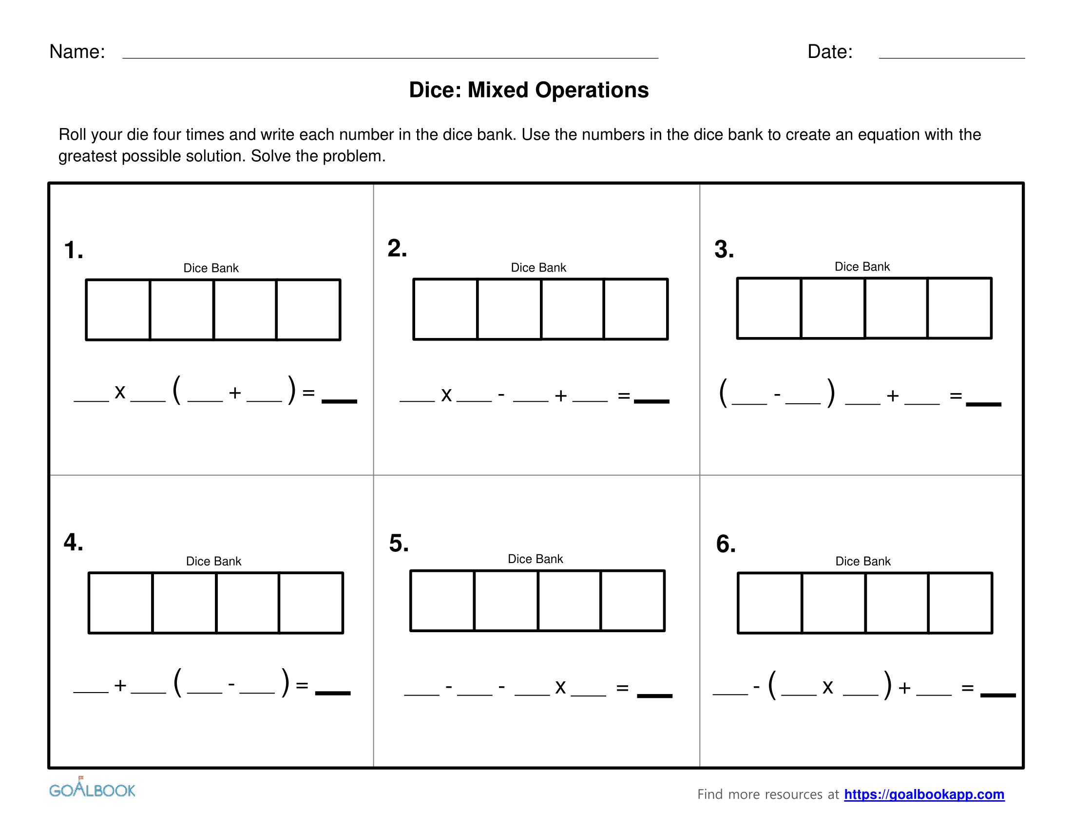 worksheet 5 Oa 2 Worksheets 5 oa 2 write simple expressions math operations algebraic mixed with dice