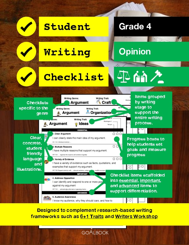 Student Writing Checklist: Opinion (Grade 4)