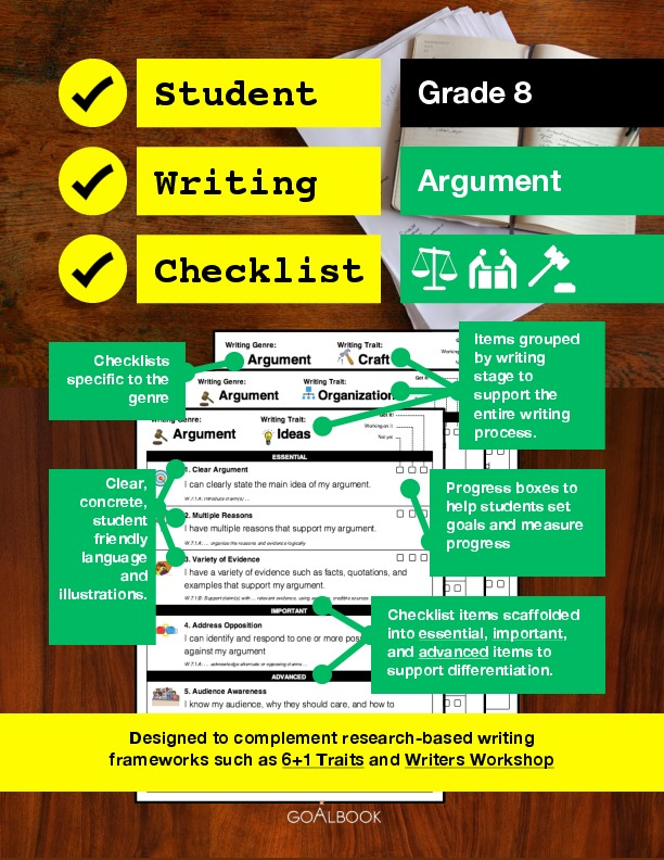Student Writing Checklist: Argument (Grade 8)