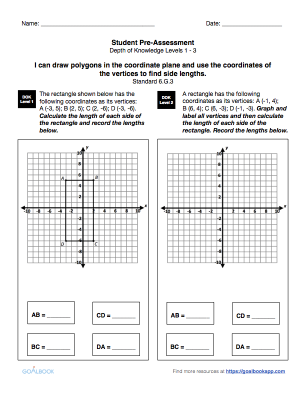 6G3 Graph Polygons and Find Side Lengths Math Geometry – Polygons in the Coordinate Plane Worksheet