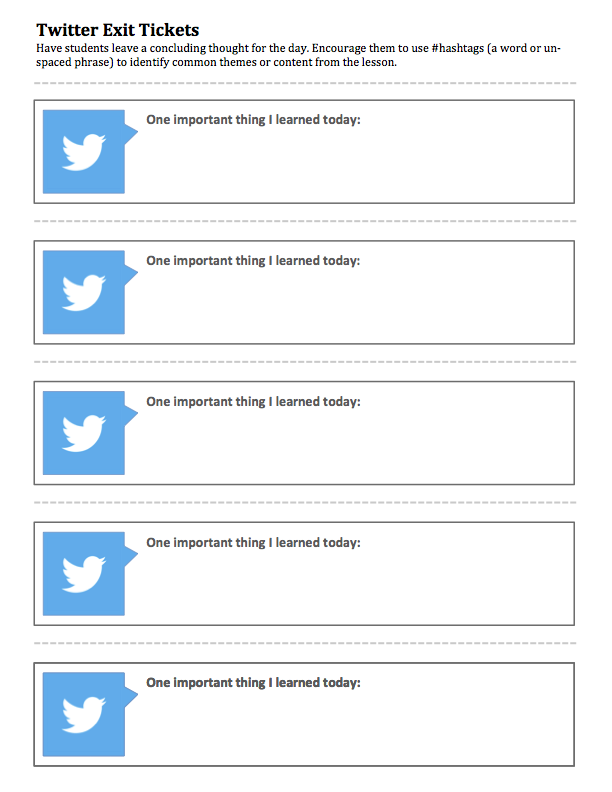 Twitter Exit Tickets