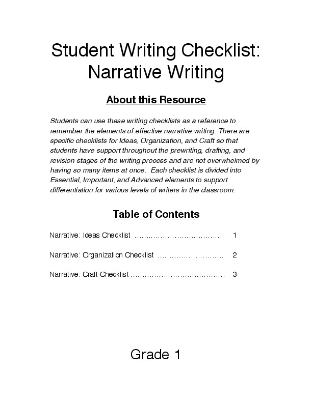 student checklist narrative essay
