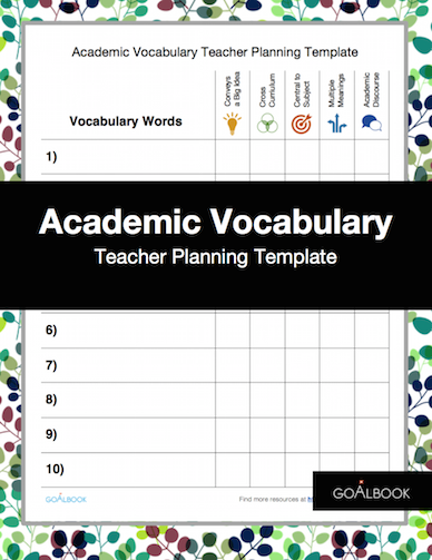 Academic Vocabulary Teacher Planning Template
