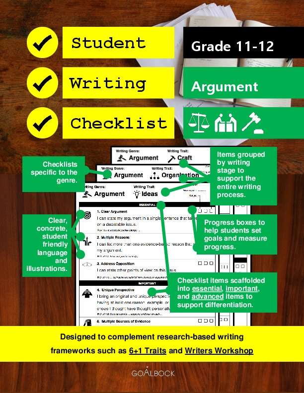 Student Writing Checklist: Argument (Grade 11-12)
