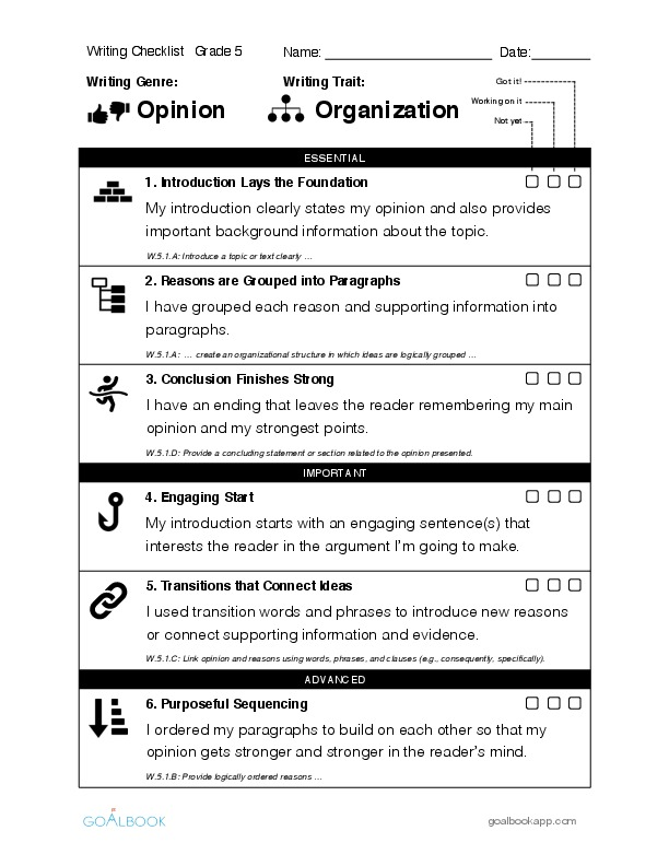 "5th grade essay checklist Persuasive essay checklist georgia performance standard for fifth grade writing introduction ""how to write a persuasive essay."