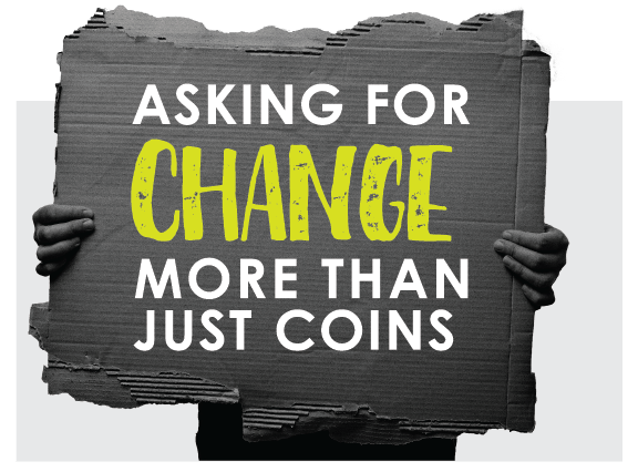 Asking for change logo graphic