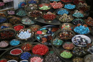 lots of colourful beads served in plates