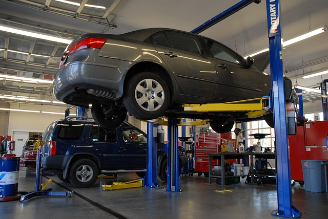 car being repaired in a care repair shop