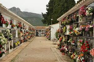 pasillo de cementerio con nichos