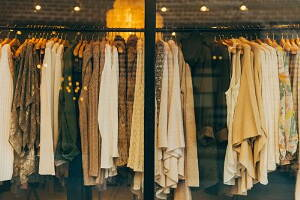 clothes hanged in a clothing store