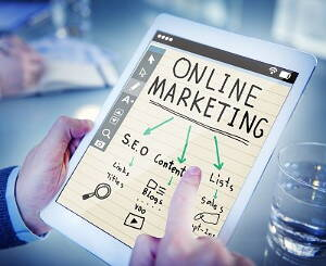 online marketing scheme on a white tablet