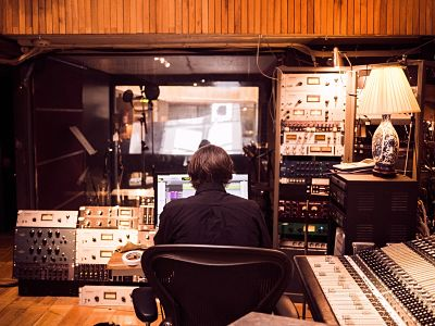 man working in a recording studio