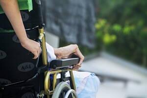 anciano siendo llevado en silla de ruedas