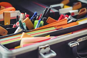 stationery materials: pens, highlighter, folders and more