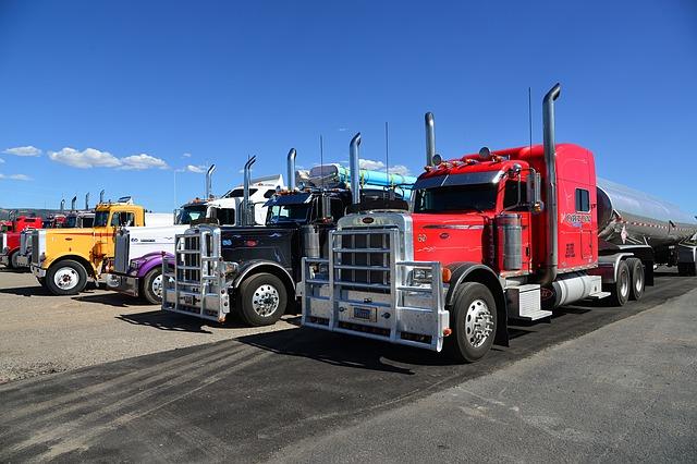 trucks from a transportation company