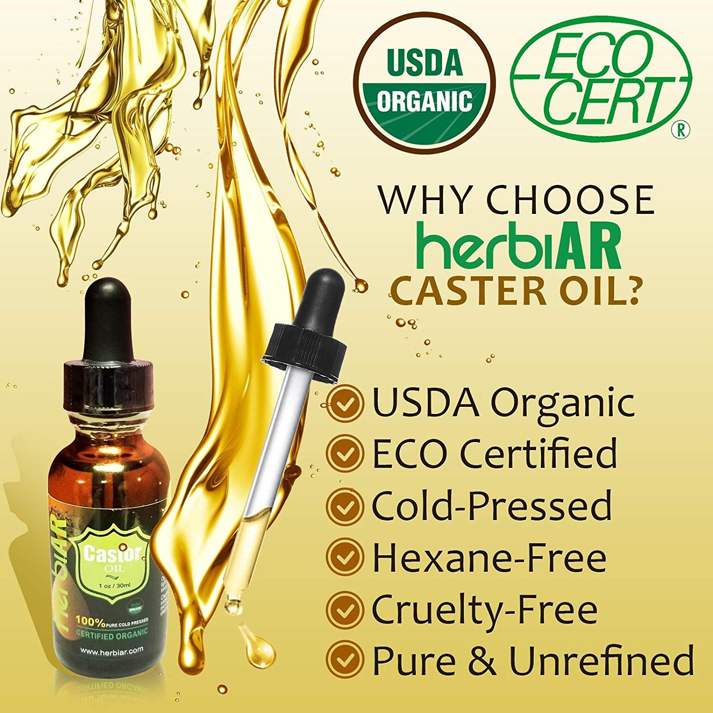 Organic Castor Oil Eyelash Eyebrow Growth Serum 100 Pure Usda