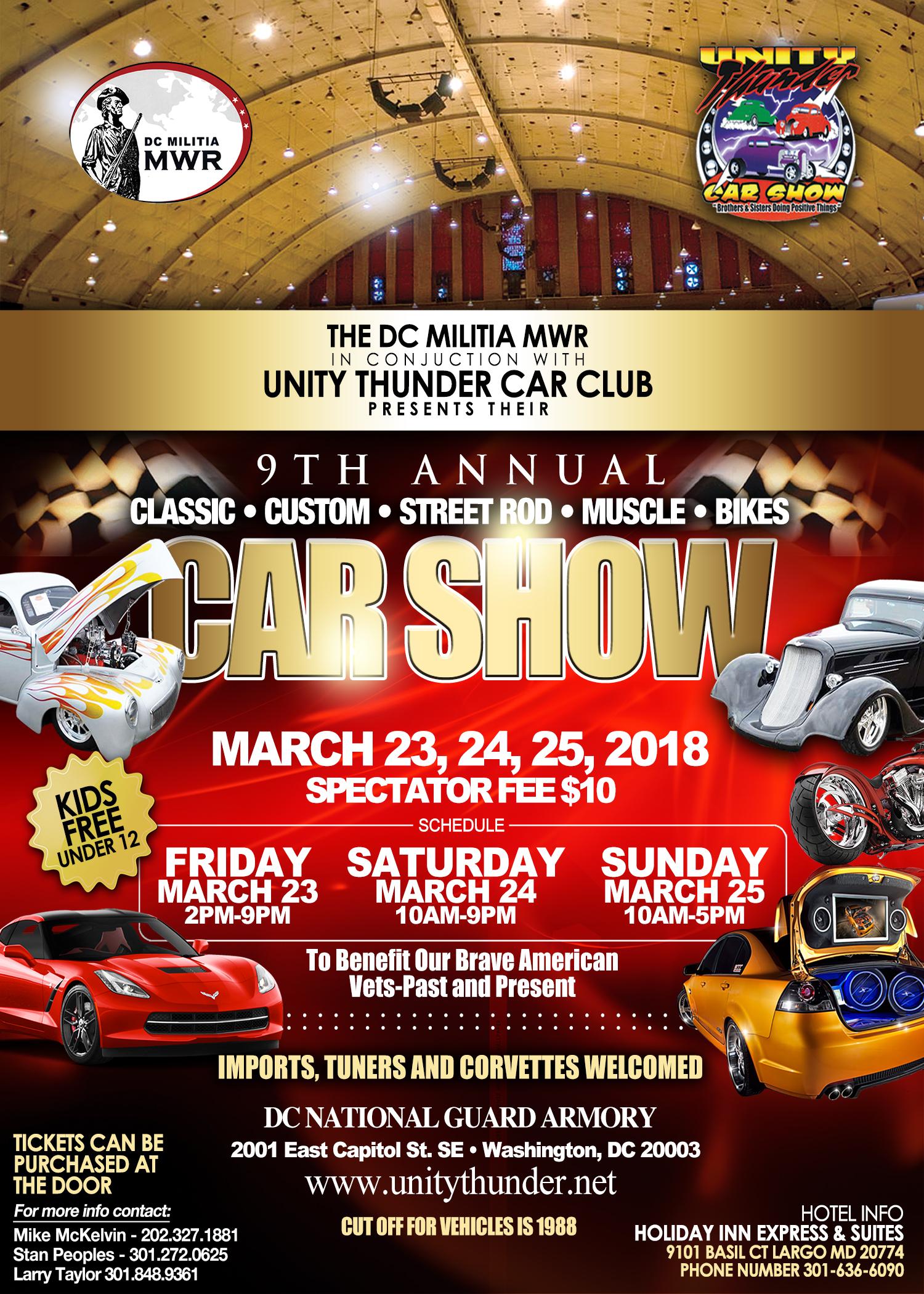 DC Militia MWR And Unity Thunder Car Clup Presents Th Annual Car Show - Washington dc car show 2018