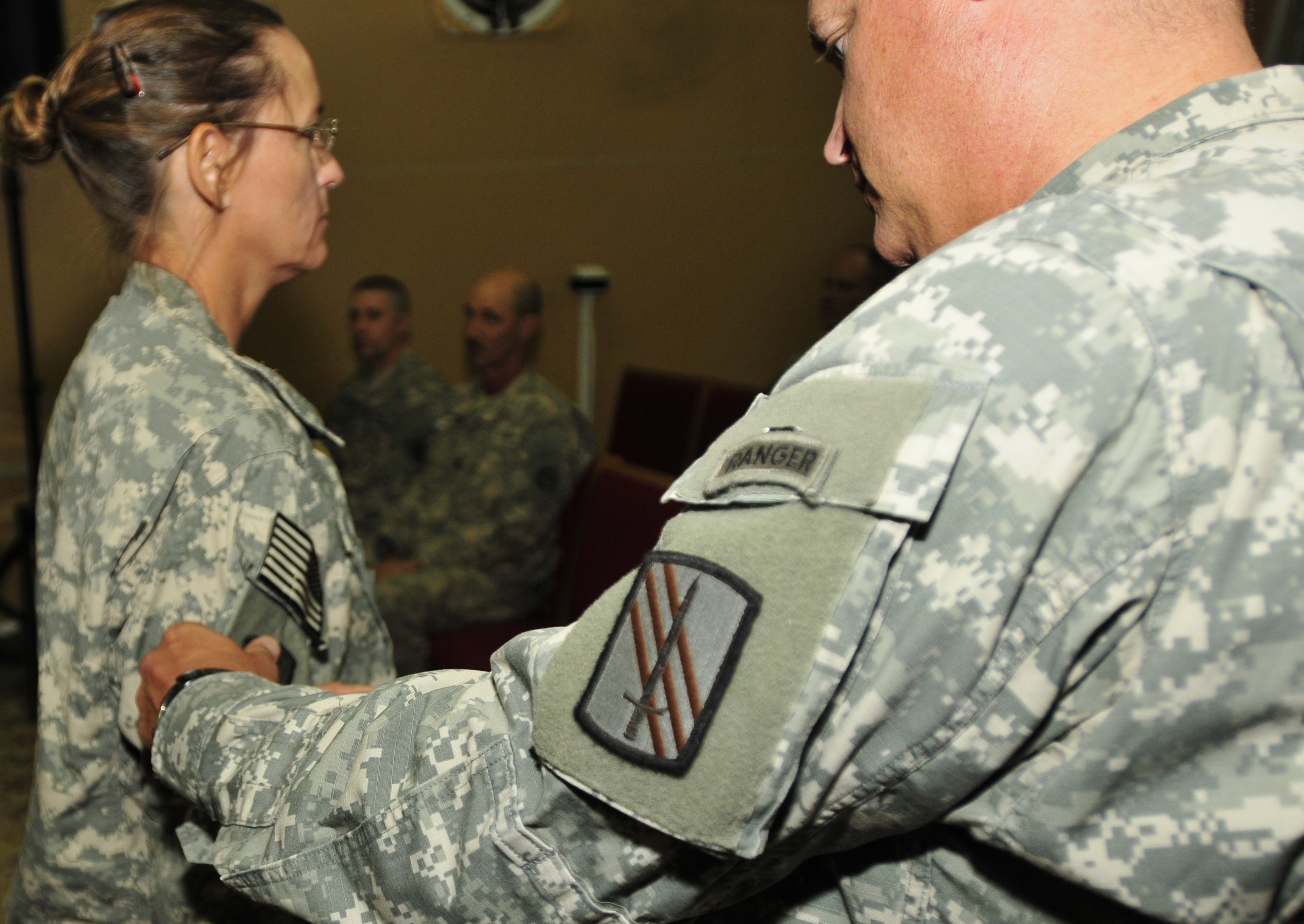 Illinois Guardsmen In Kuwait Receive Combat Patches During Ceremony