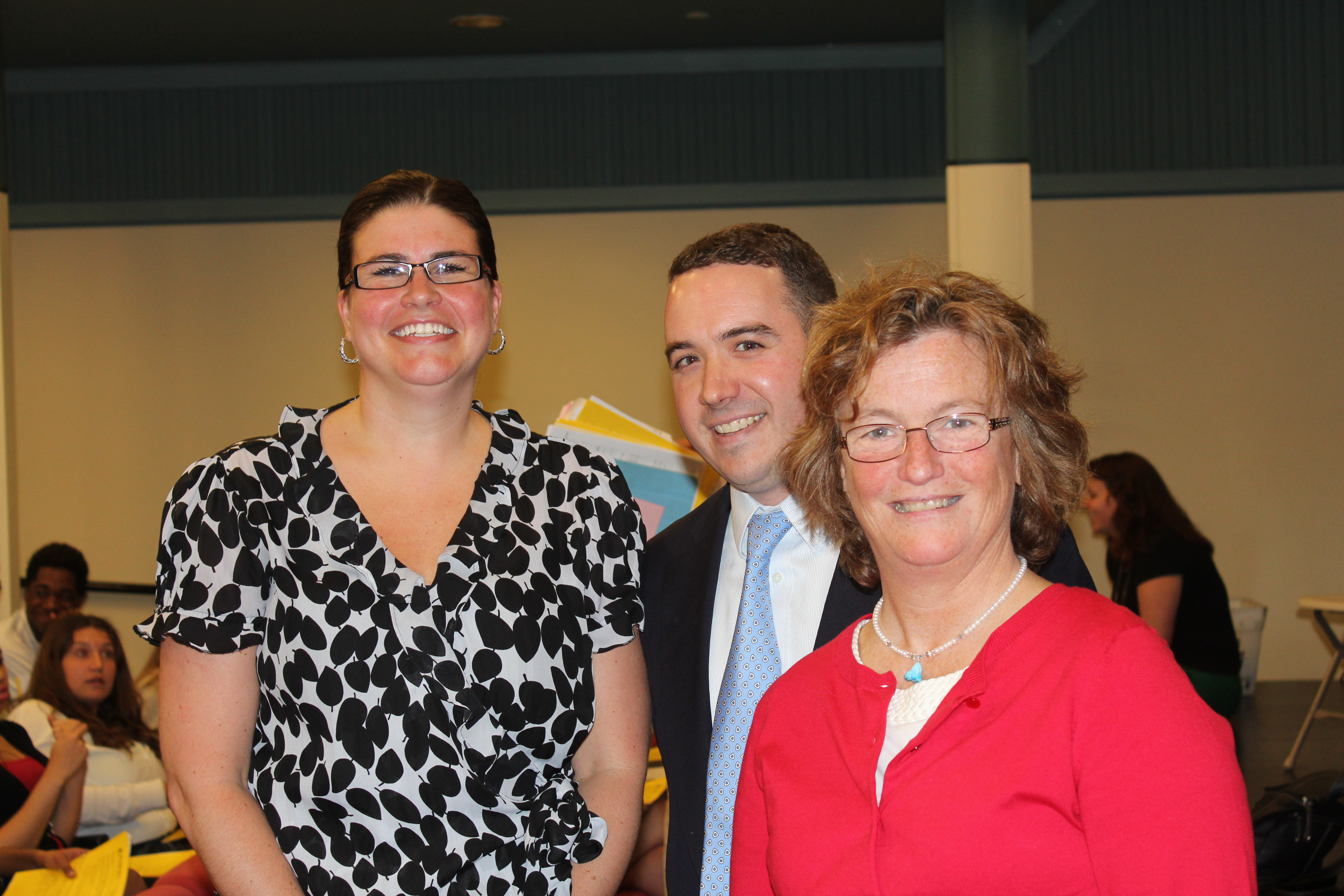 In the photo, l-r: College Admission reps Kelly Montrym from Boston College,  Ian Harkness from Gettysburg College, and Debra Johns from Yale.