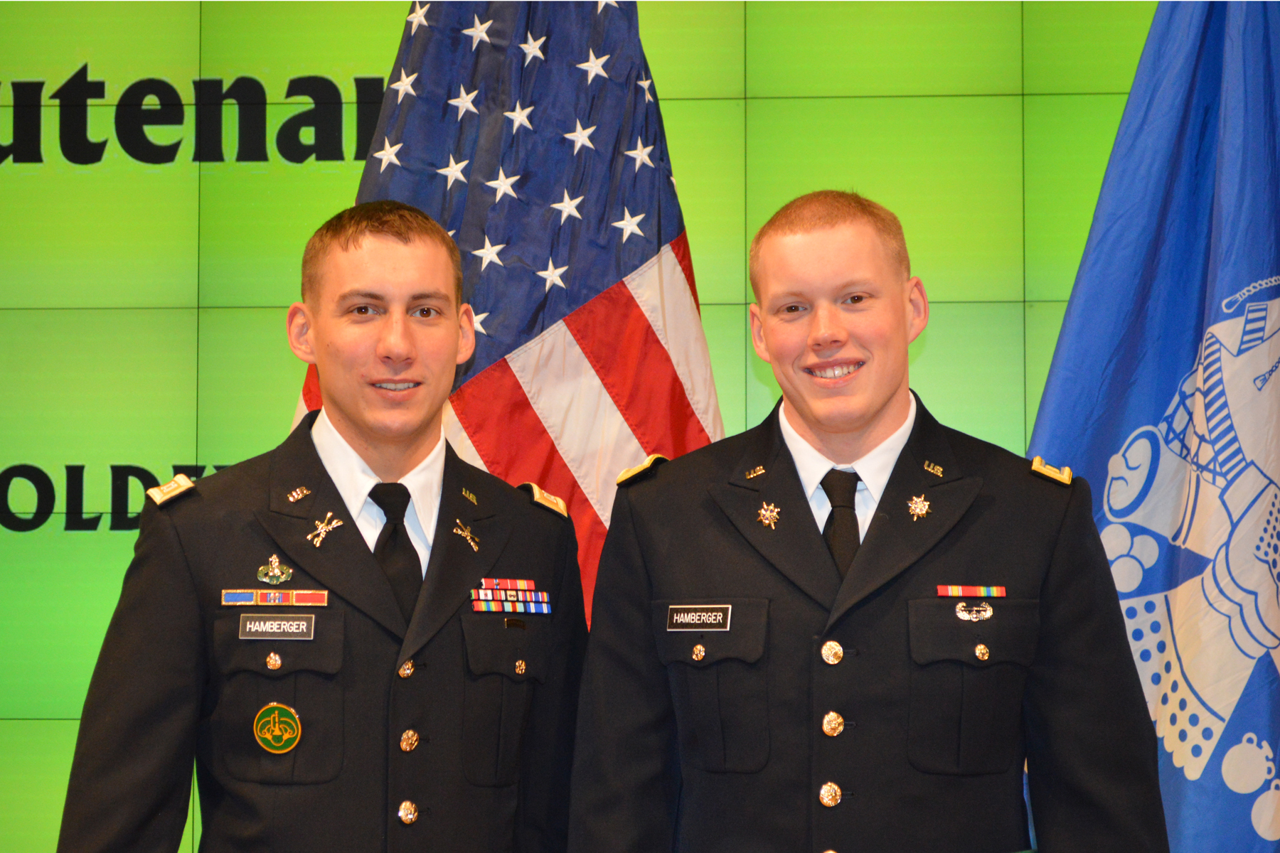 Second Lt. Thomas C. Hamberger U002713 (right) Was Commissioned Into The Military  Intelligence Branch Of The U.S. Army. His Brother, Capt.