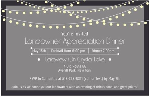 2019 land owner dinner invite
