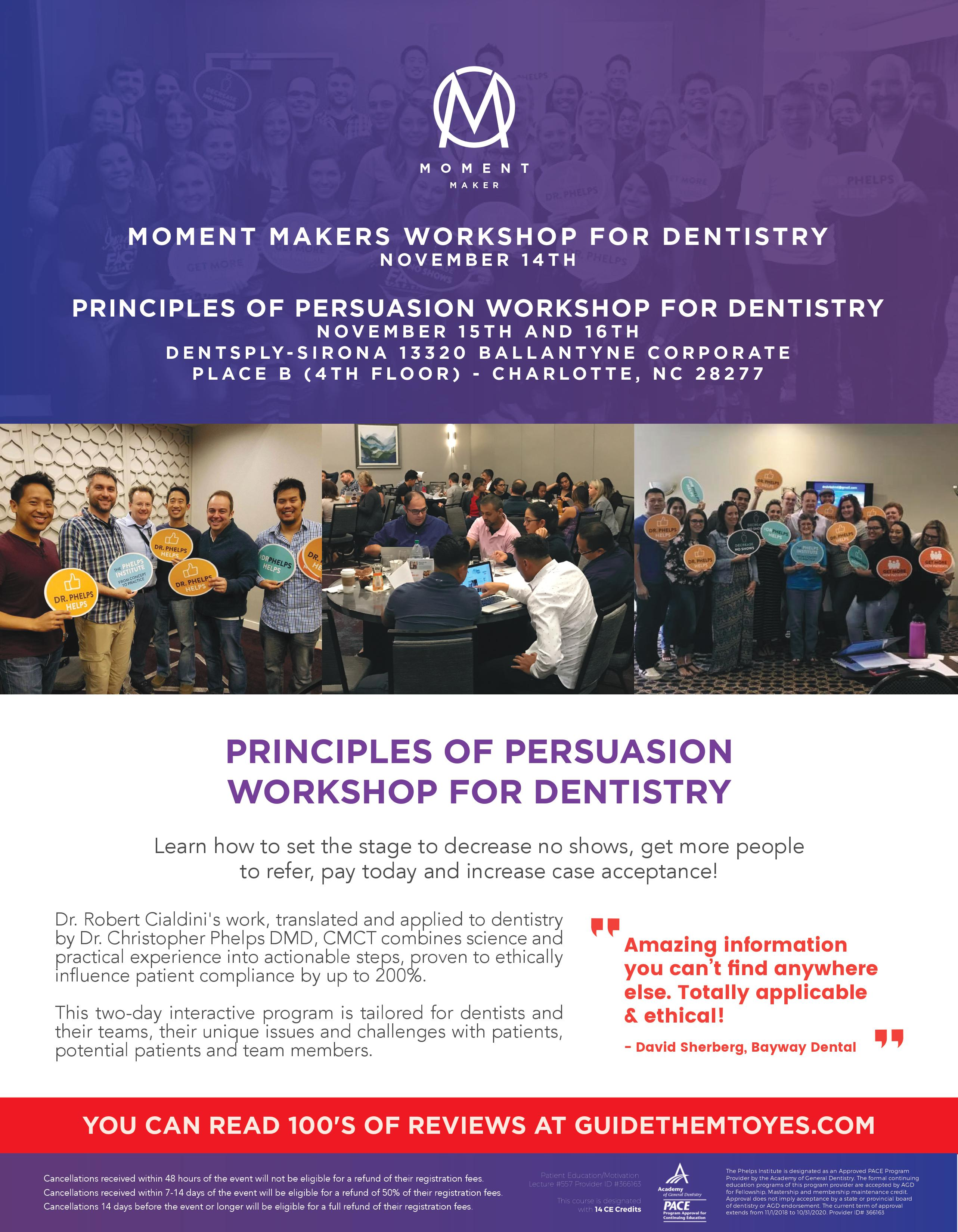 THE PRINCIPLES OF PERSUASION FOR DENTISTRY AND MOMENT MAKERS WORKSHOP | Buy  Tickets in Charlotte | Ticketbud