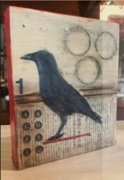 Crow encaustic