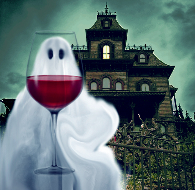 Ghost and wine graphic