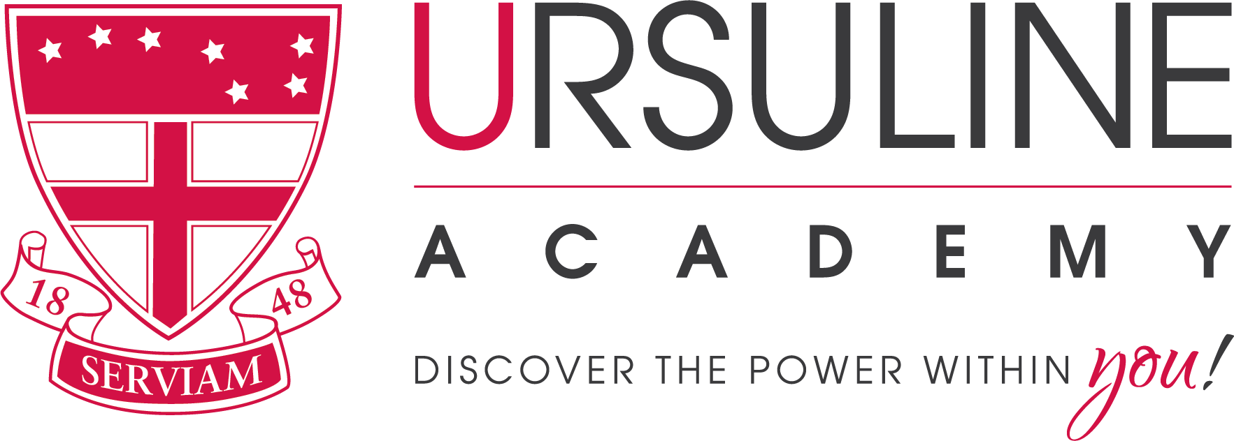 Ursuline logo horizontal with tagline cmyk