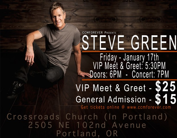 Purchase online ticket for steve green in concert q what time do doors open a 500pm for the vip meet greet ticket holders and 600pm for general admission ticket holders m4hsunfo