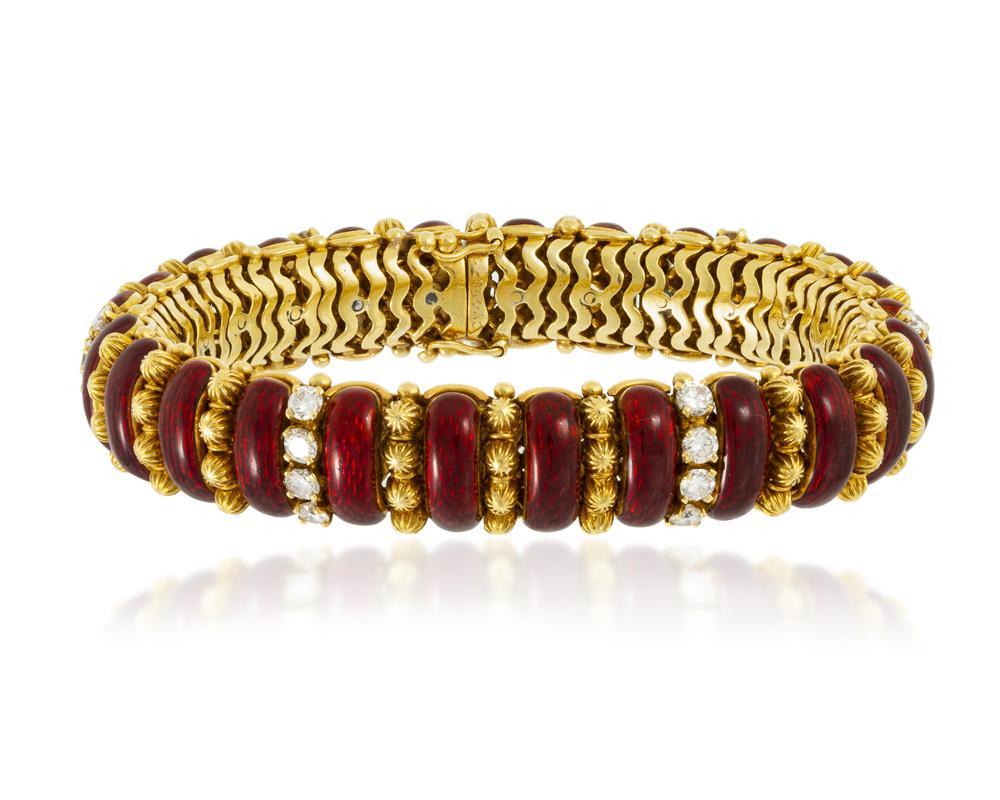 Lot 1191: An Italian red enamel and diamond bracelet, Van Cleef & Arpels Image