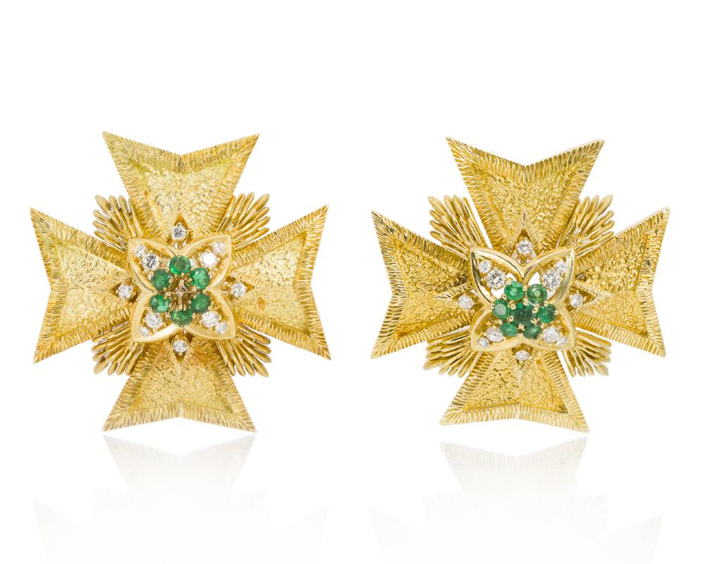 Lot 1196: A pair of Maltese cross pendant/brooches, Van Cleef & Arpels Image