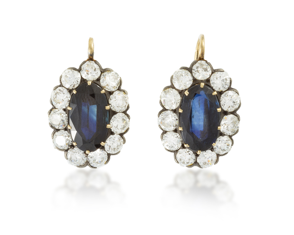 Lot 1006: A pair of sapphire and diamond earrings Image
