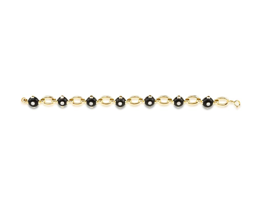 Lot 1009: A French ebony and diamond bracelet, Marzo Image