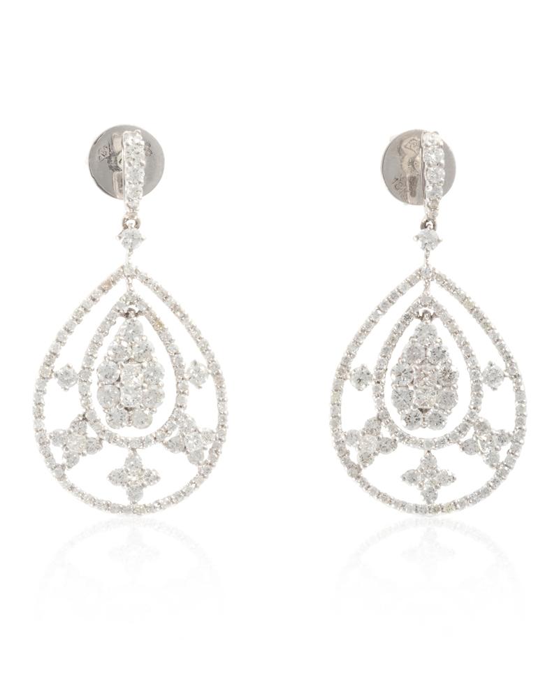 Lot 1023: A pair of diamond ear pendants Image