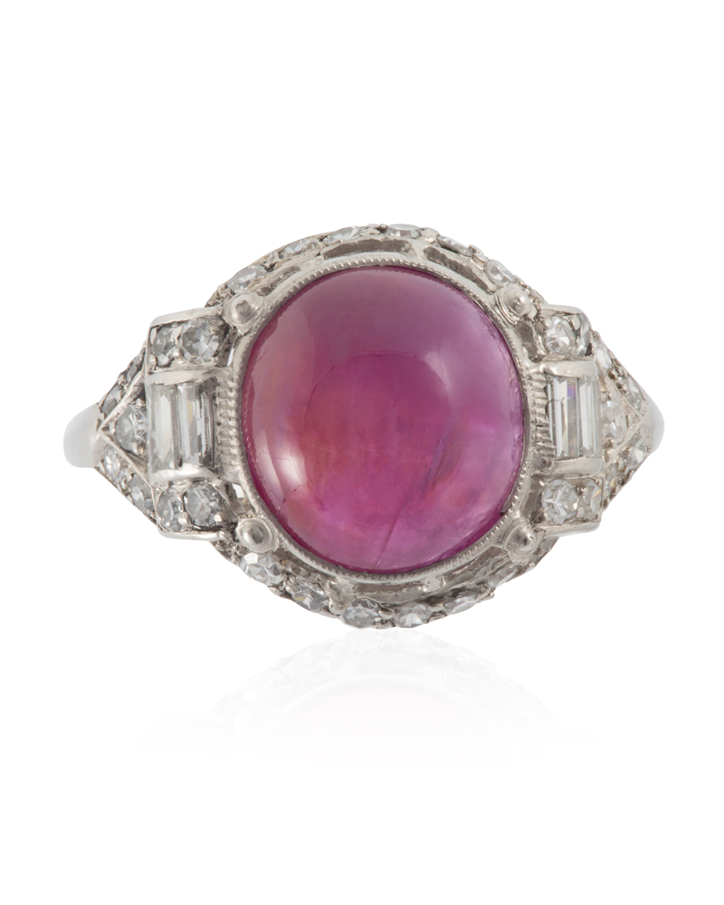 Lot 1028: An Art Deco natural Burmese ruby and diamond ring Image