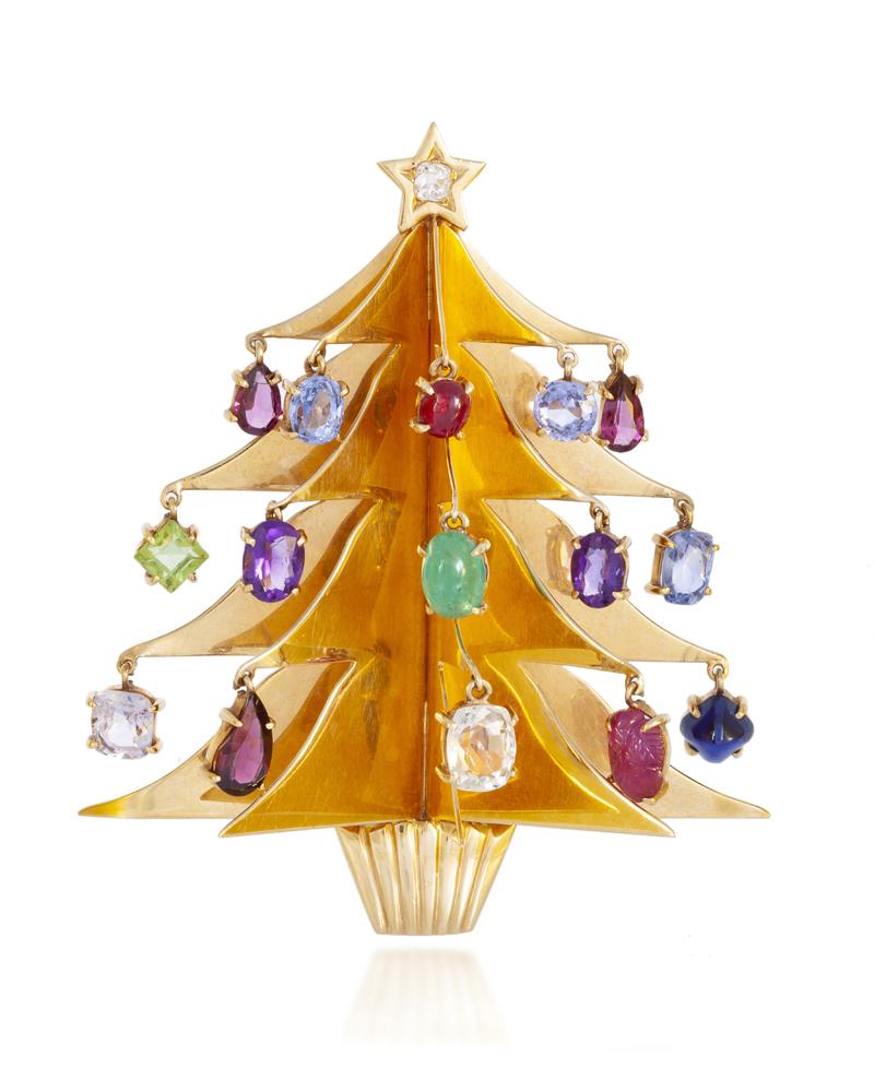 Lot 1035: A Retro gem-set Christmas tree brooch Image