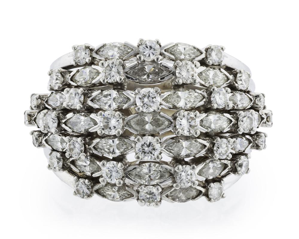 Lot 1040: A diamond bombe ring Image