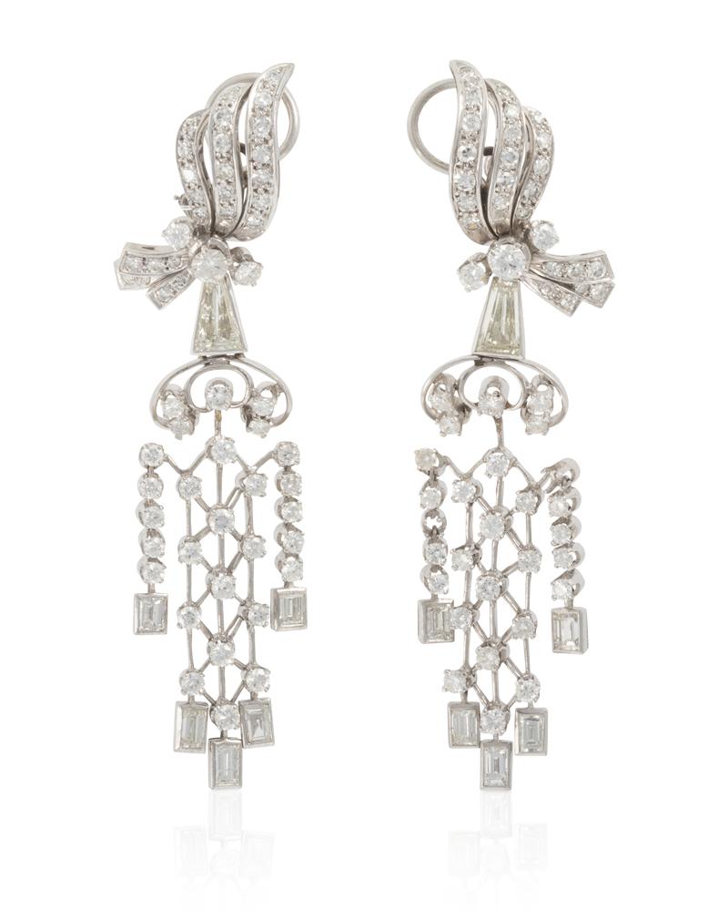 Lot 1042: A pair of diamond ear pendants Image