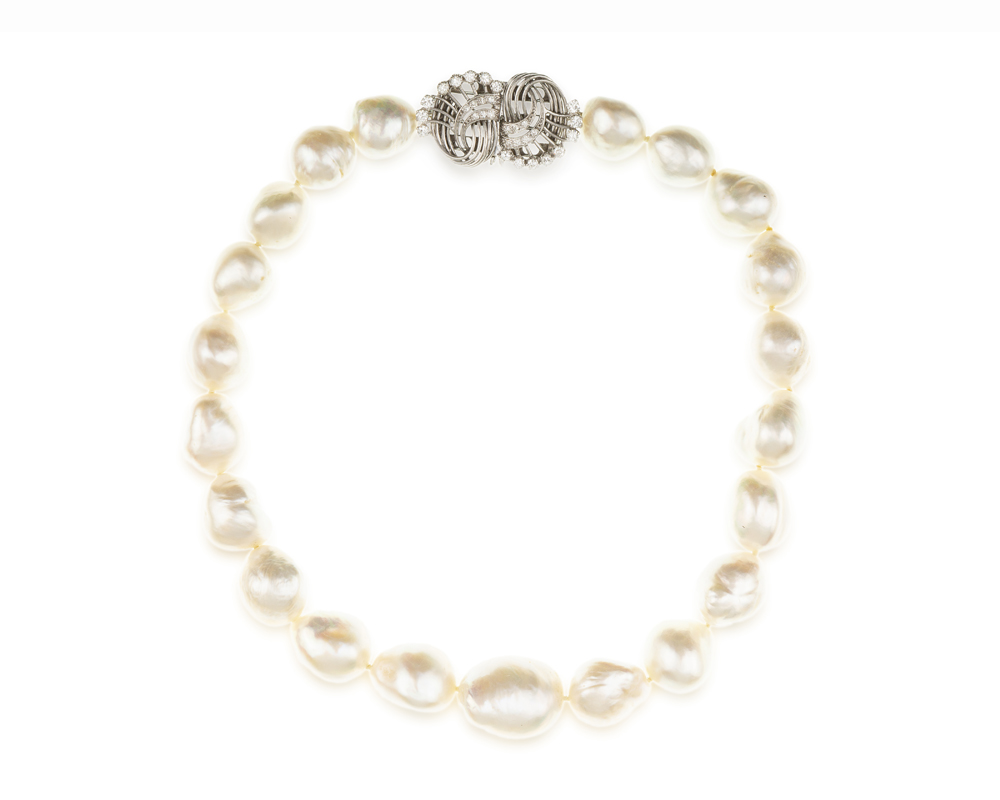 Lot 1047: A baroque South Sea cultured pearl and diamond necklace Image