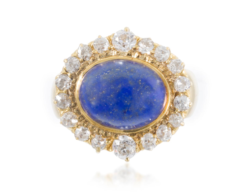 Lot 1: An Antique lapis lazuli and diamond ring